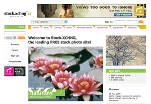 ロイヤリティフリーの画像を利用できるstock.xchng