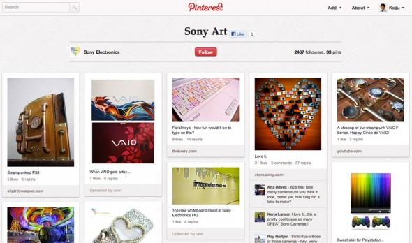 ソニーのブランドロゴやイメージを含んだ画像をRepinしており、楽しくユーザーのSonyに対する愛情を感じられるボードになっている。