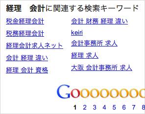 Googleの検索結果下部に表示される関連キーワード
